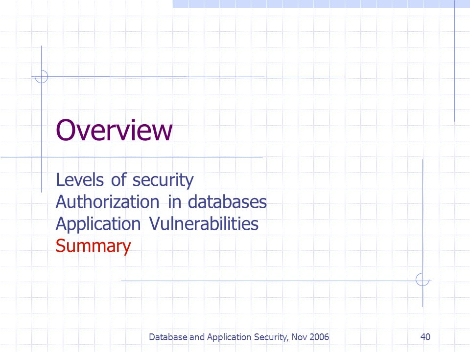 Database and Application Security, Nov 200640 Overview Levels of security Authorization in databases Application Vulnerabilities Summary