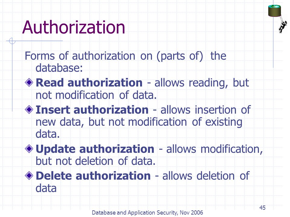 Database and Application Security, Nov 2006 45 Authorization Forms of authorization on (parts of) the database: Read authorization - allows reading, b
