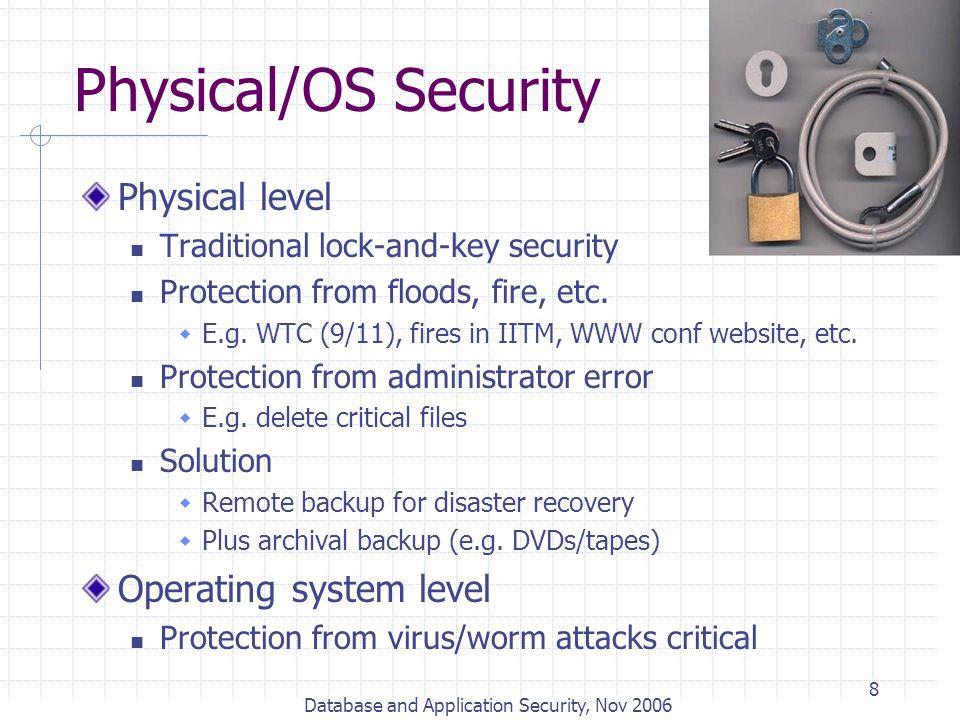 Database and Application Security, Nov 2006 9 Database Encryption E.g.