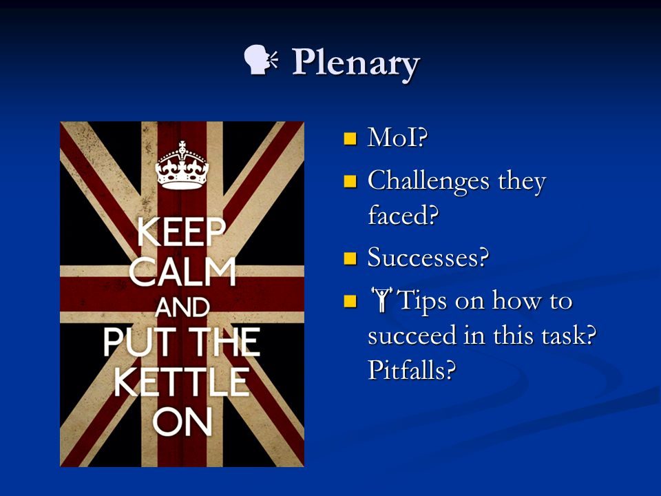 Plenary Plenary MoI. MoI. Challenges they faced.