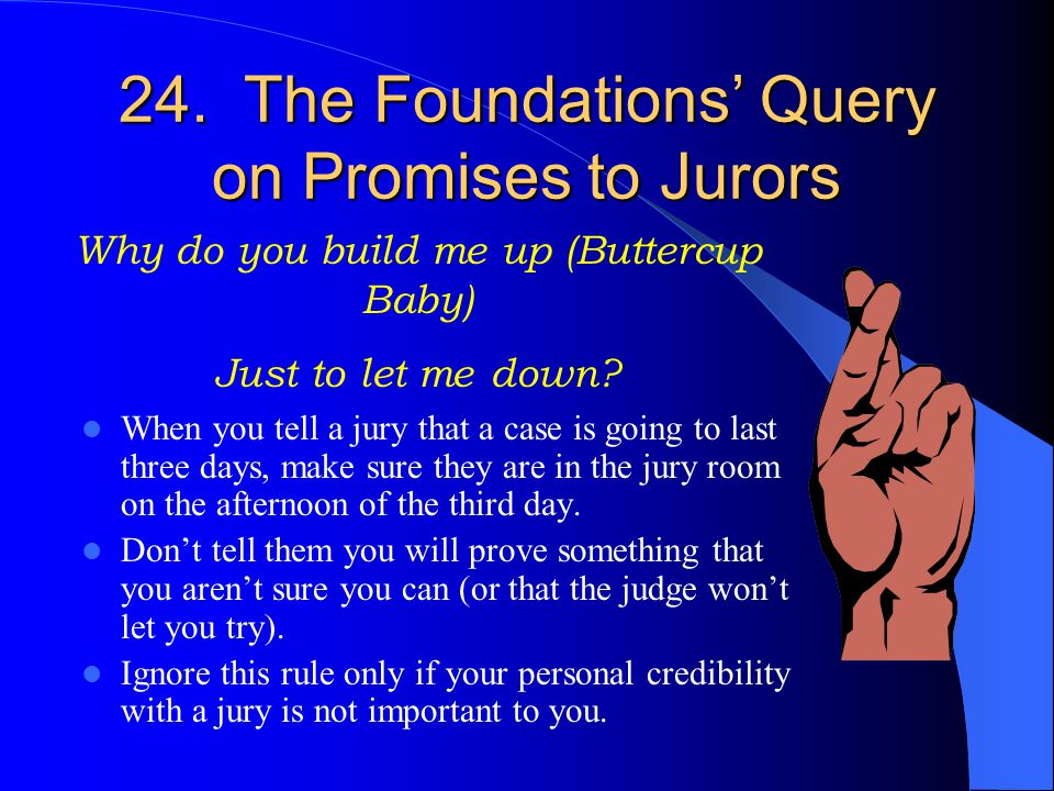 Don't insult a jury's collective intelligence! Repeating things twice is at least one time too many. Lengthy individual voir dire of every member of a