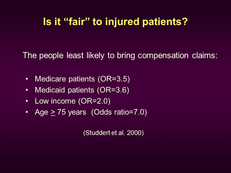 "Is it ""fair"" to injured patients? The people least likely to bring compensation claims: Medicare patients (OR=3.5) Medicaid patients (OR=3.6) Low inco"
