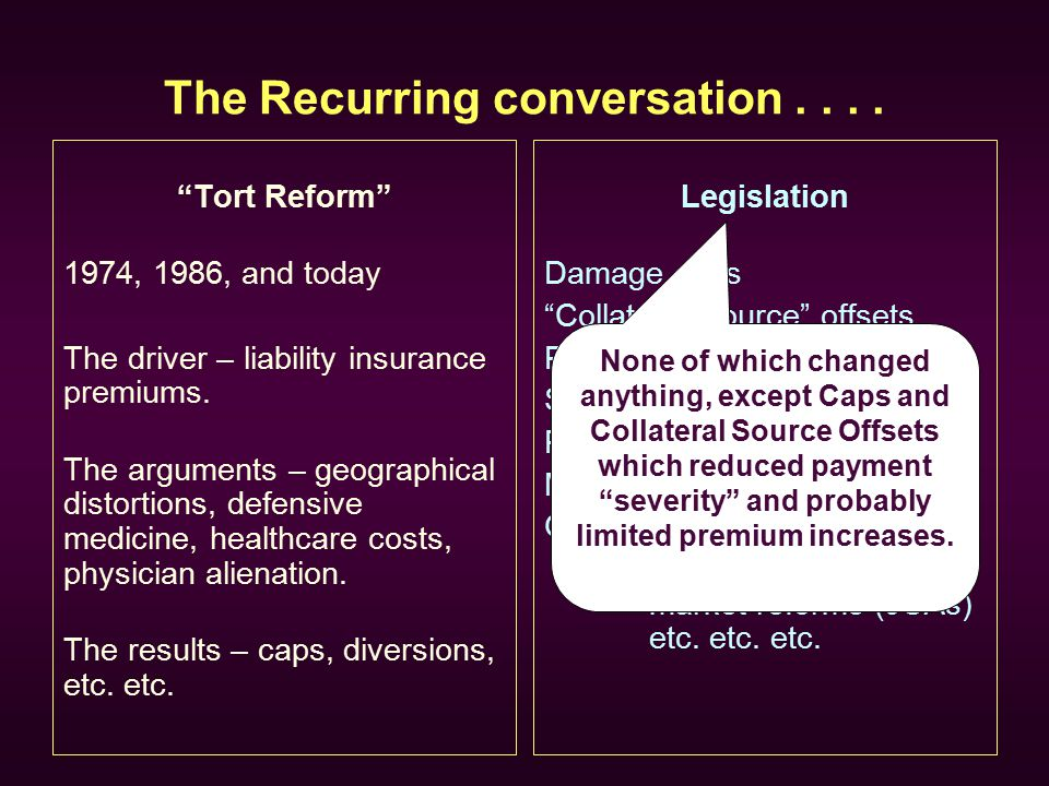 "The Recurring conversation.... ""Tort Reform"" 1974, 1986, and today The driver – liability insurance premiums. The arguments – geographical distortions"