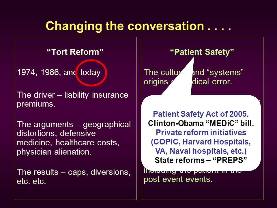 "Changing the conversation.... ""Tort Reform"" 1974, 1986, and today The driver – liability insurance premiums. The arguments – geographical distortions,"