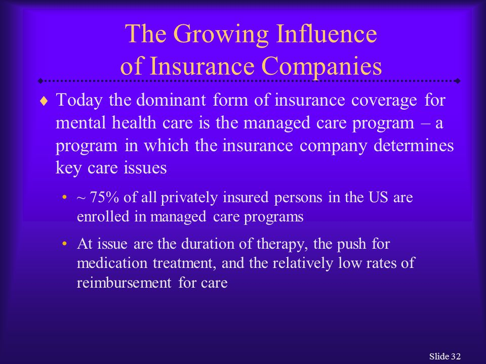 Slide 32 The Growing Influence of Insurance Companies  Today the dominant form of insurance coverage for mental health care is the managed care progr
