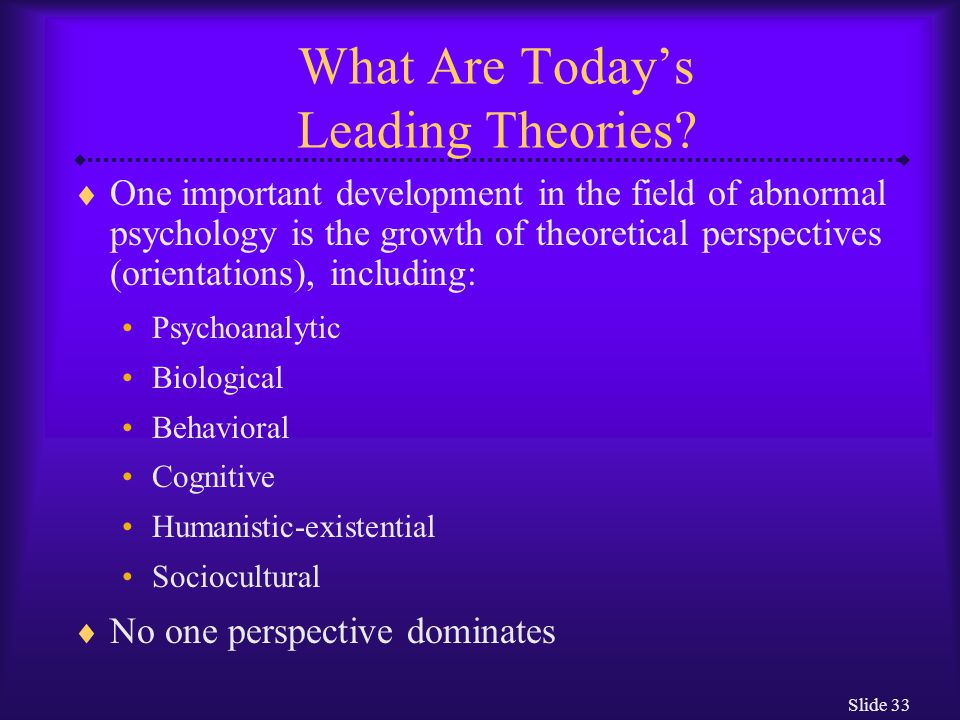 Slide 33 What Are Today's Leading Theories?  One important development in the field of abnormal psychology is the growth of theoretical perspectives