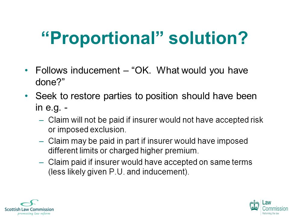 Proportional solution. Follows inducement – OK.