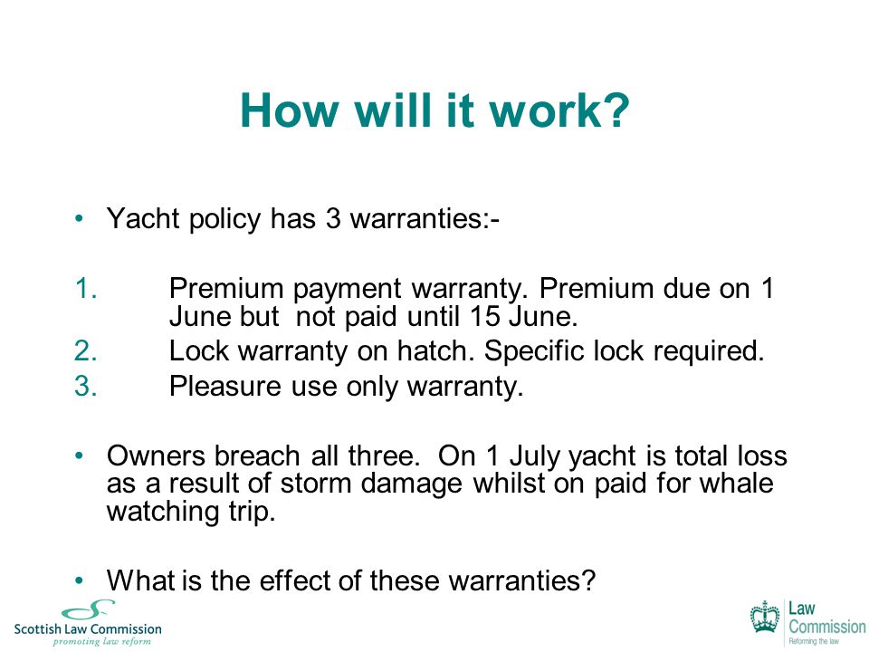 How will it work. Yacht policy has 3 warranties:- 1.