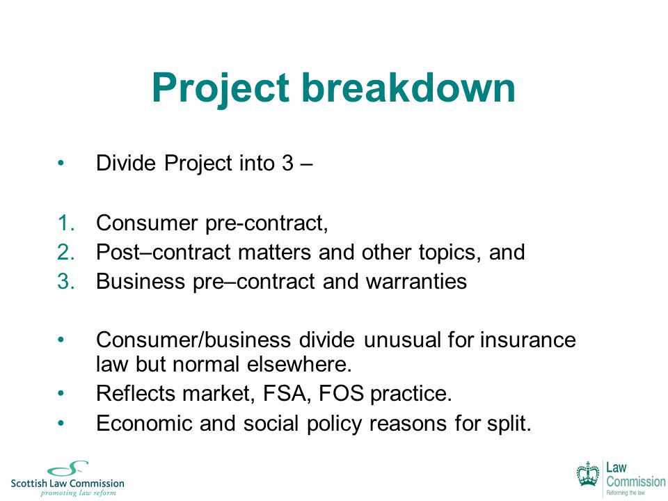 Project breakdown Divide Project into 3 – 1.Consumer pre-contract, 2.Post–contract matters and other topics, and 3.Business pre–contract and warranties Consumer/business divide unusual for insurance law but normal elsewhere.