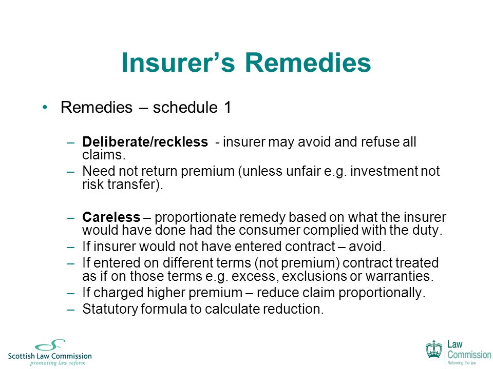 Insurer's Remedies Remedies – schedule 1 –Deliberate/reckless - insurer may avoid and refuse all claims.