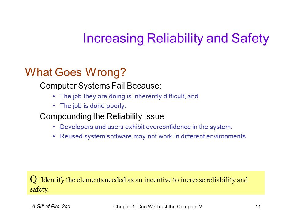 A Gift of Fire, 2edChapter 4: Can We Trust the Computer 14 Increasing Reliability and Safety What Goes Wrong.