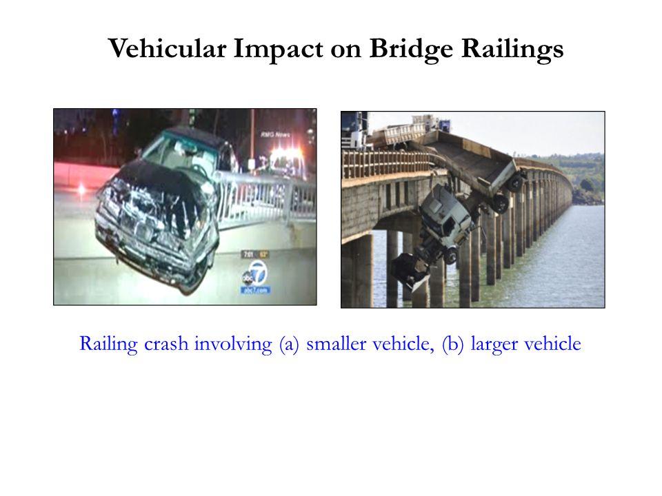 Vehicular Impact on Bridge Railings Railing crash involving (a) smaller vehicle, (b) larger vehicle