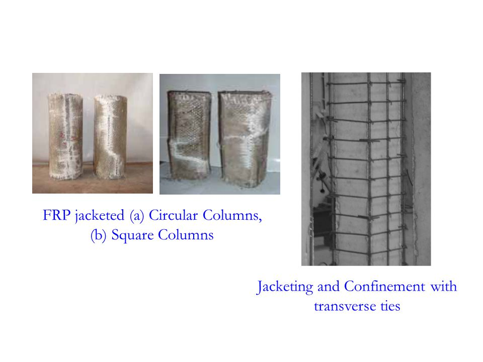 FRP jacketed (a) Circular Columns, (b) Square Columns Jacketing and Confinement with transverse ties