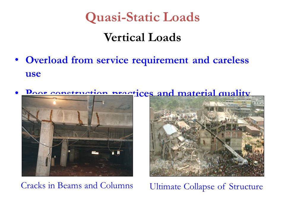 Vertical Loads Overload from service requirement and careless use Poor construction practices and material quality Quasi-Static Loads Cracks in Beams and Columns Ultimate Collapse of Structure