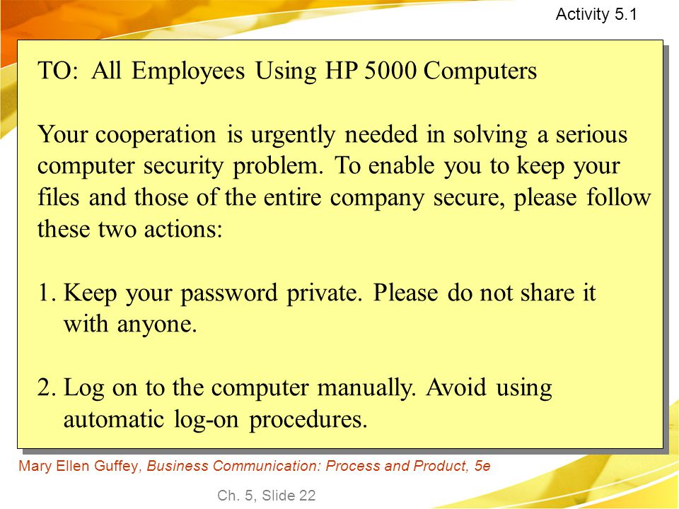 Ch. 5, Slide 22 Mary Ellen Guffey, Business Communication: Process and Product, 5e TO: All Employees Using HP 5000 Computers Your cooperation is urgen