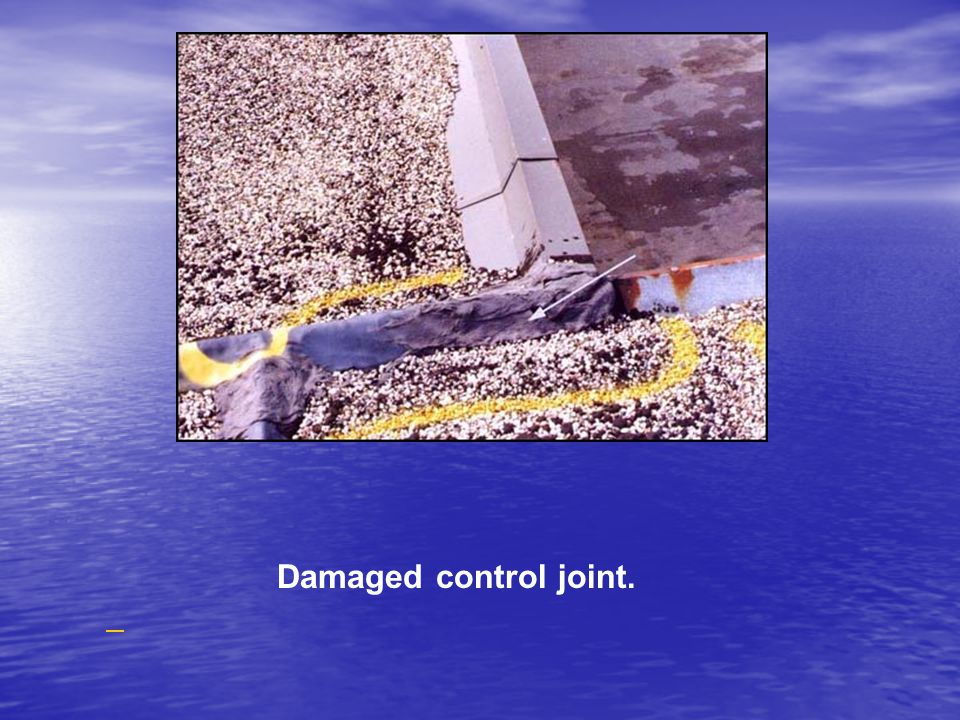 Damaged control joint.