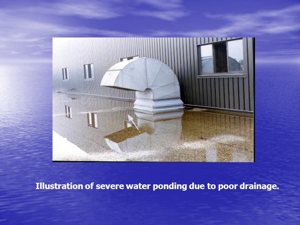 Illustration of severe water ponding due to poor drainage.