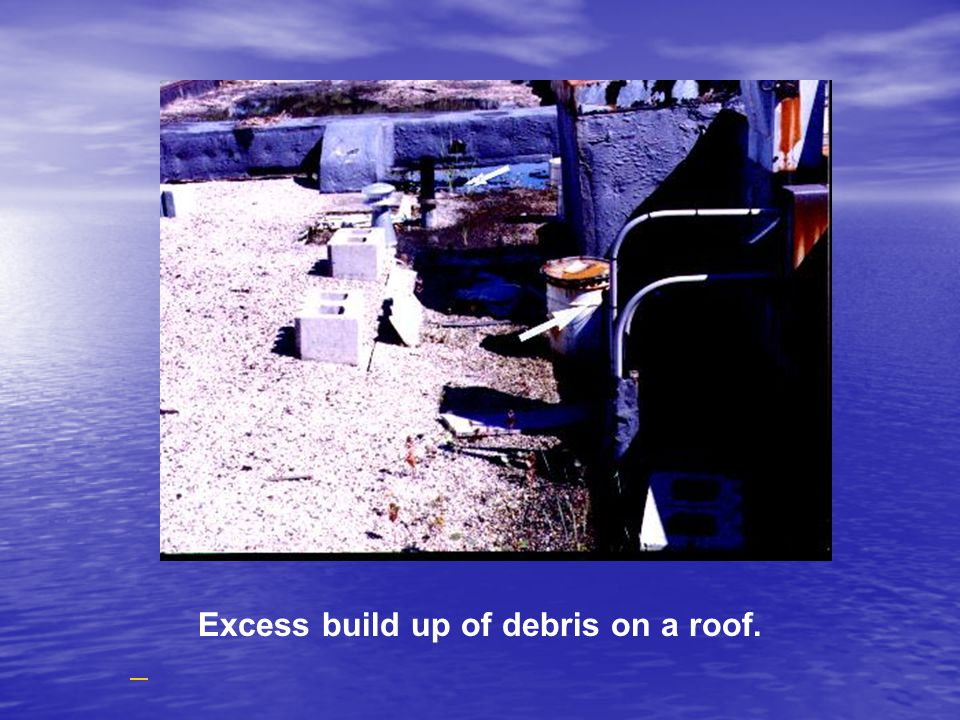 Excess build up of debris on a roof.