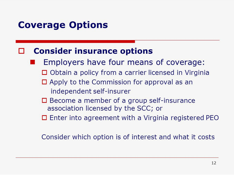  Consider insurance options Employers have four means of coverage:  Obtain a policy from a carrier licensed in Virginia  Apply to the Commission for approval as an independent self-insurer  Become a member of a group self-insurance association licensed by the SCC; or  Enter into agreement with a Virginia registered PEO Consider which option is of interest and what it costs Coverage Options 12