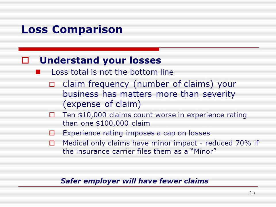  Understand your losses Loss total is not the bottom line  C laim frequency (number of claims) your business has matters more than severity (expense of claim)  Ten $10,000 claims count worse in experience rating than one $100,000 claim  Experience rating imposes a cap on losses  Medical only claims have minor impact - reduced 70% if the insurance carrier files them as a Minor Safer employer will have fewer claims Loss Comparison 15