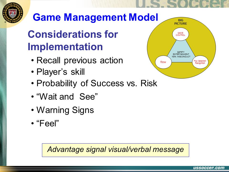 Probability of Success vs. Risk SAFETY ENTERTAINMENT 100% MISCONDUCT BIG PICTURE GAME CONTROL Foul Selection/ Recognition flow Recall previous action