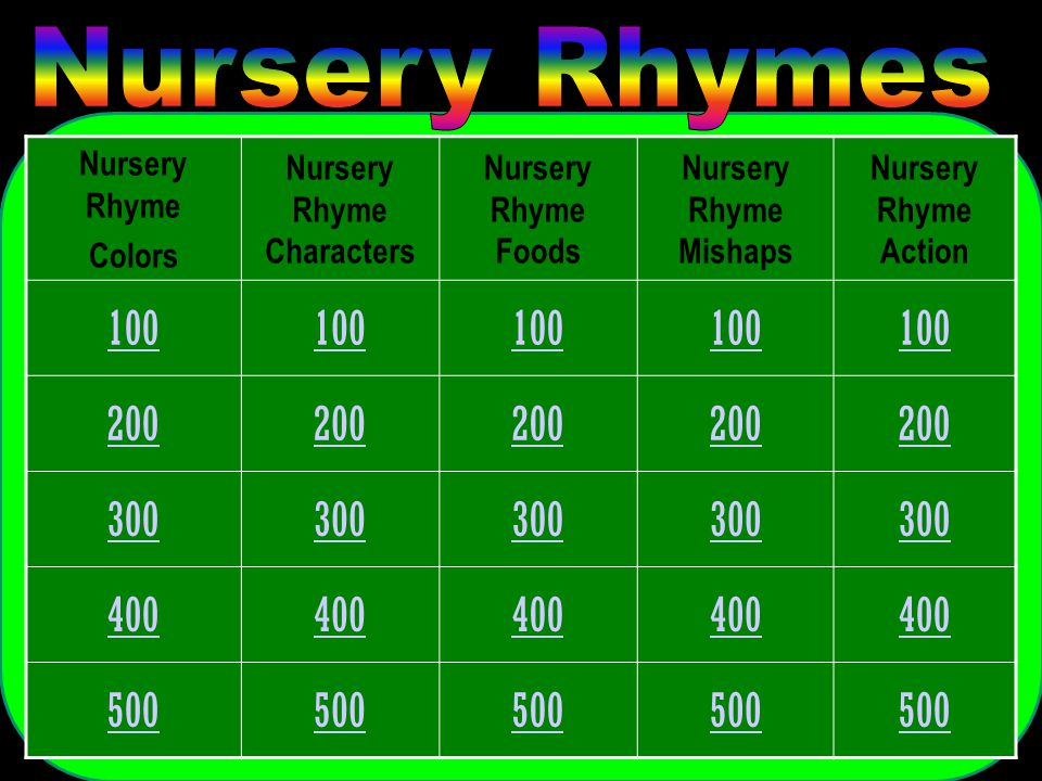 Nursery Rhyme Colors Nursery Rhyme Characters Nursery Rhyme Foods Nursery Rhyme Mishaps Nursery Rhyme Action 100 200 300 400 500
