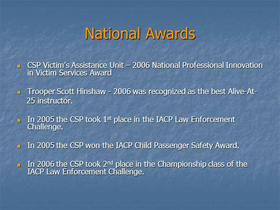 National Awards CSP Victim's Assistance Unit – 2006 National Professional Innovation in Victim Services Award CSP Victim's Assistance Unit – 2006 National Professional Innovation in Victim Services Award Trooper Scott Hinshaw - 2006 was recognized as the best Alive-At- Trooper Scott Hinshaw - 2006 was recognized as the best Alive-At- 25 instructor.