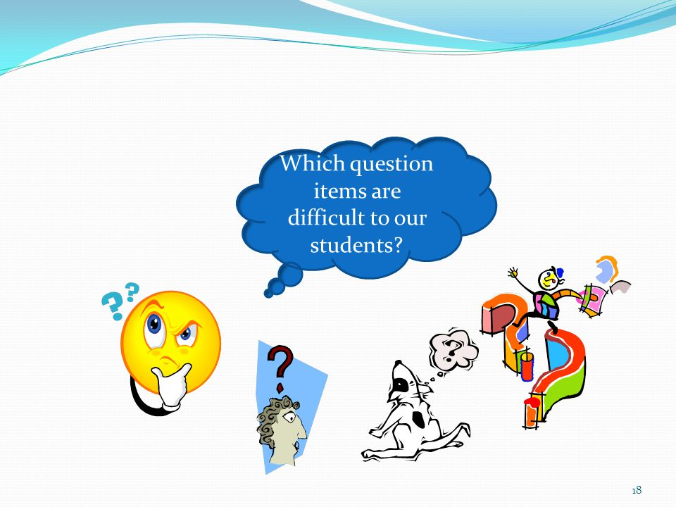 Which question items are difficult to our students 18