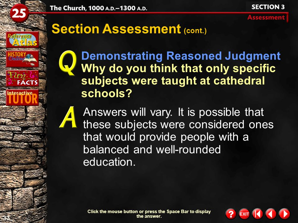 32 Section 3- Assessment 2 Section Assessment (cont.) In what ways were universities alike.