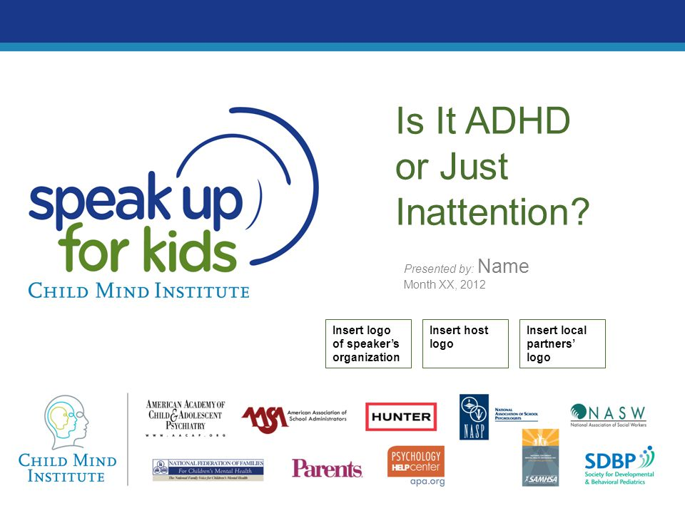 The long-term consequences of not treating ADHD Untreated kids face: –Less schooling & poorer grades –Higher expulsion rates –Fewer friends –Lower self-esteem –Higher arrest rates –Lower occupational rank –Higher job termination rates –Riskier driving –More accidents