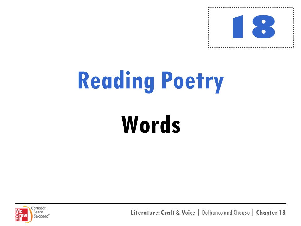 Literature: Craft & Voice | Delbanco and Cheuse | Chapter 18 Reading Poetry Words 18