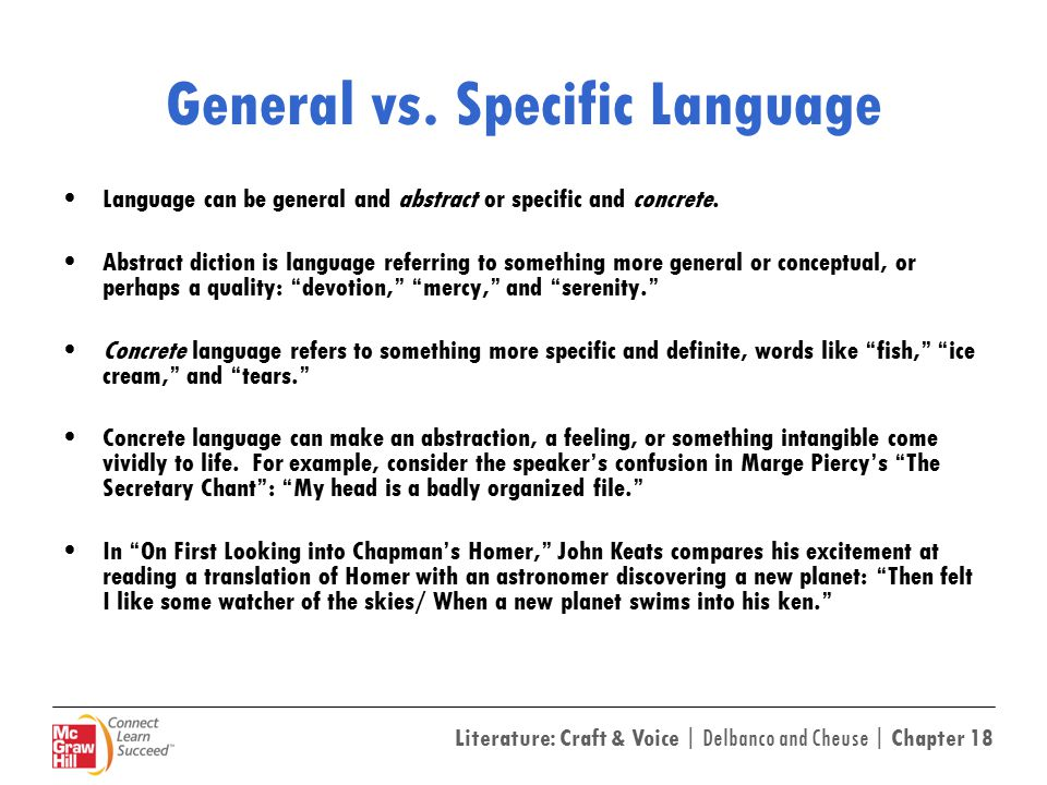 Literature: Craft & Voice | Delbanco and Cheuse | Chapter 18 General vs.