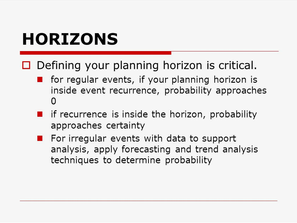 HORIZONS  Defining your planning horizon is critical.