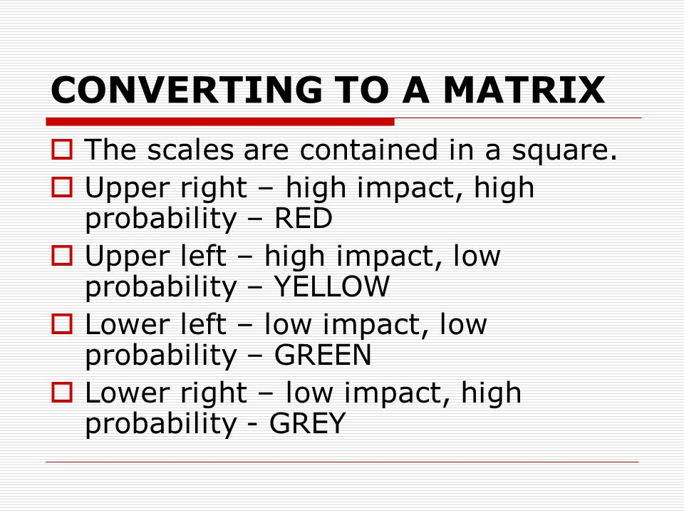 CONVERTING TO A MATRIX  The scales are contained in a square.