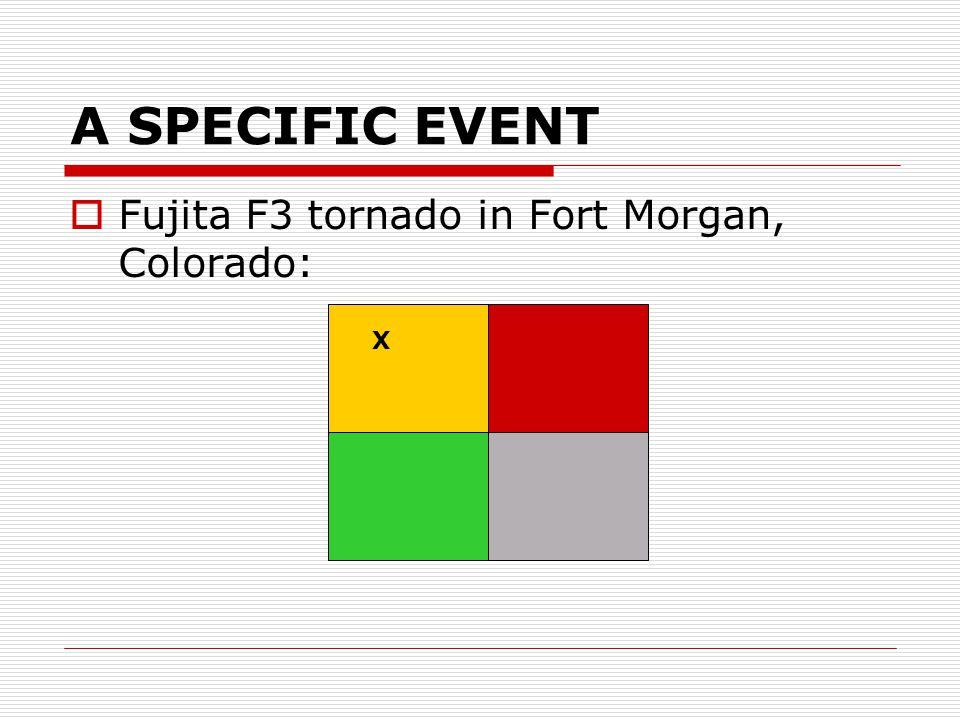 A SPECIFIC EVENT  Fujita F3 tornado in Fort Morgan, Colorado: X