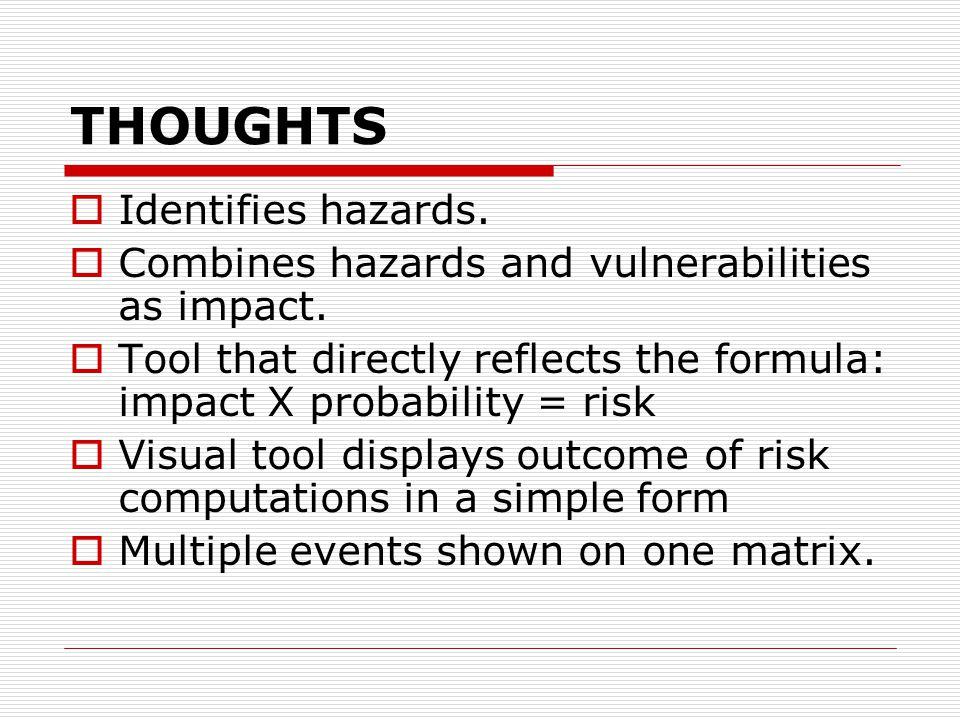 THOUGHTS  Identifies hazards.  Combines hazards and vulnerabilities as impact.