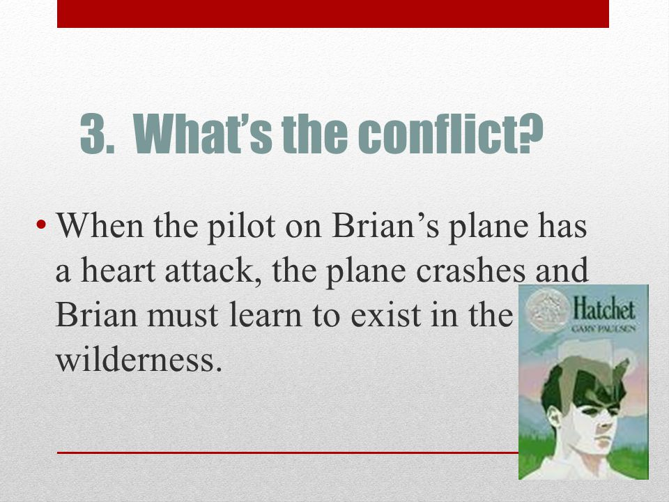 3. What's the conflict? When the pilot on Brian's plane has a heart attack, the plane crashes and Brian must learn to exist in the wilderness.