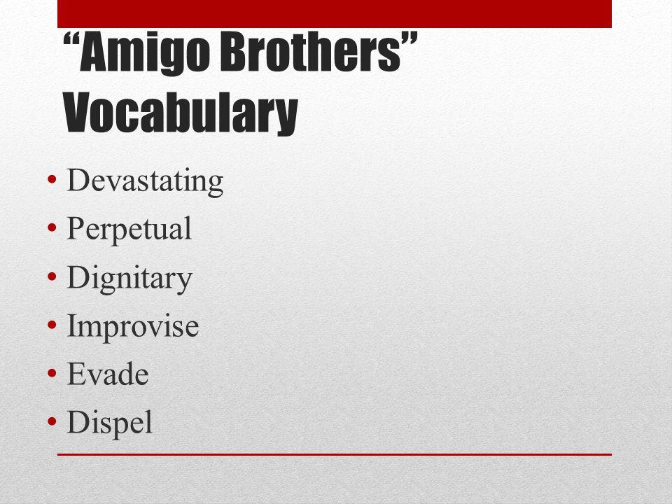 """Amigo Brothers"" Vocabulary Devastating Perpetual Dignitary Improvise Evade Dispel"