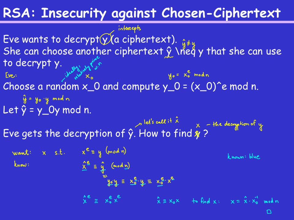 RSA: Insecurity against Chosen-Ciphertext Eve wants to decrypt y (a ciphertext).