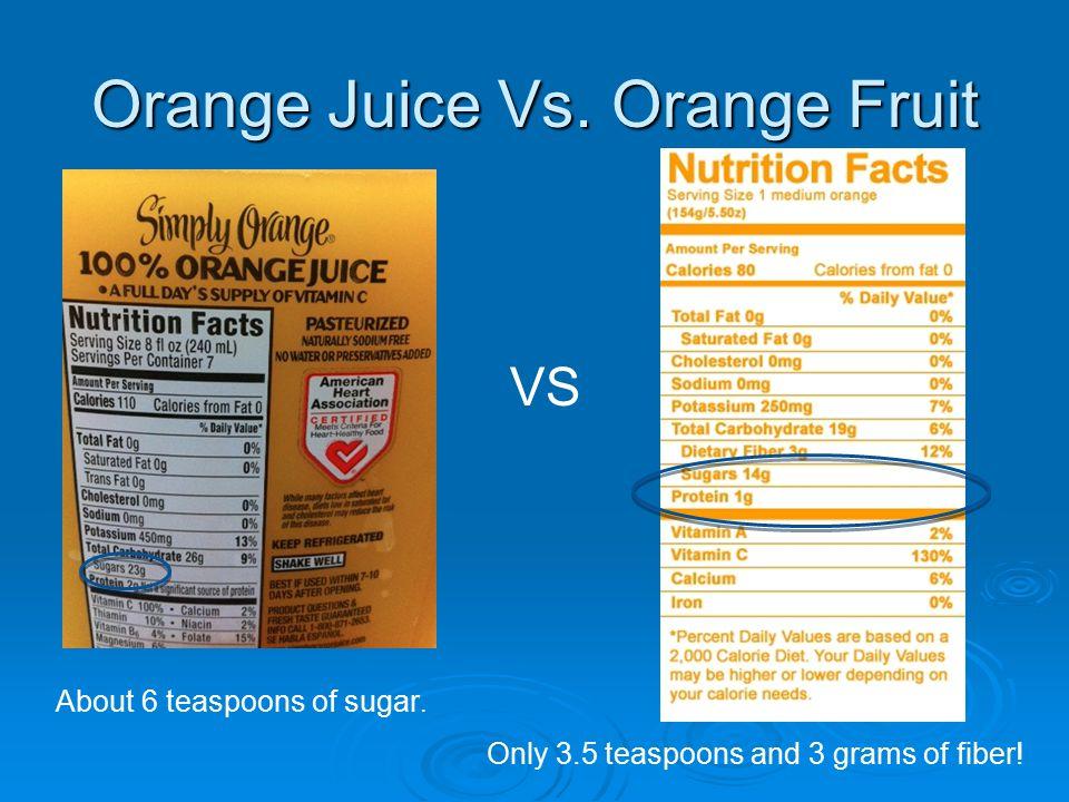 Orange Juice Vs. Orange Fruit VS About 6 teaspoons of sugar.