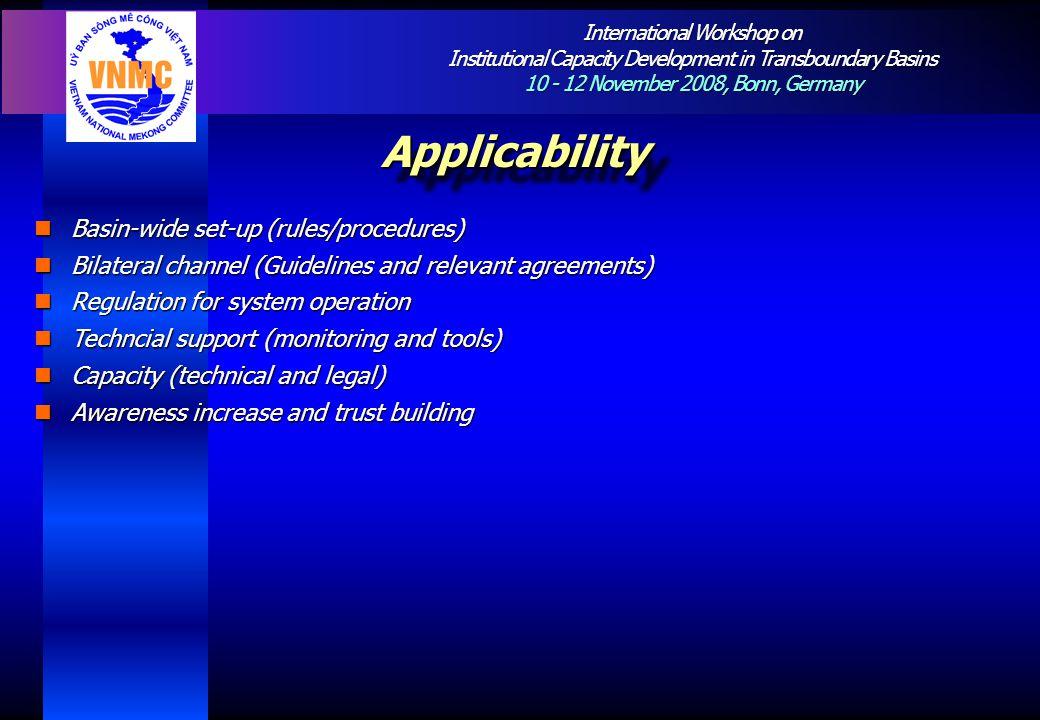 International Workshop on Institutional Capacity Development in Transboundary Basins 10 - 12 November 2008, Bonn, Germany ApplicabilityApplicability B