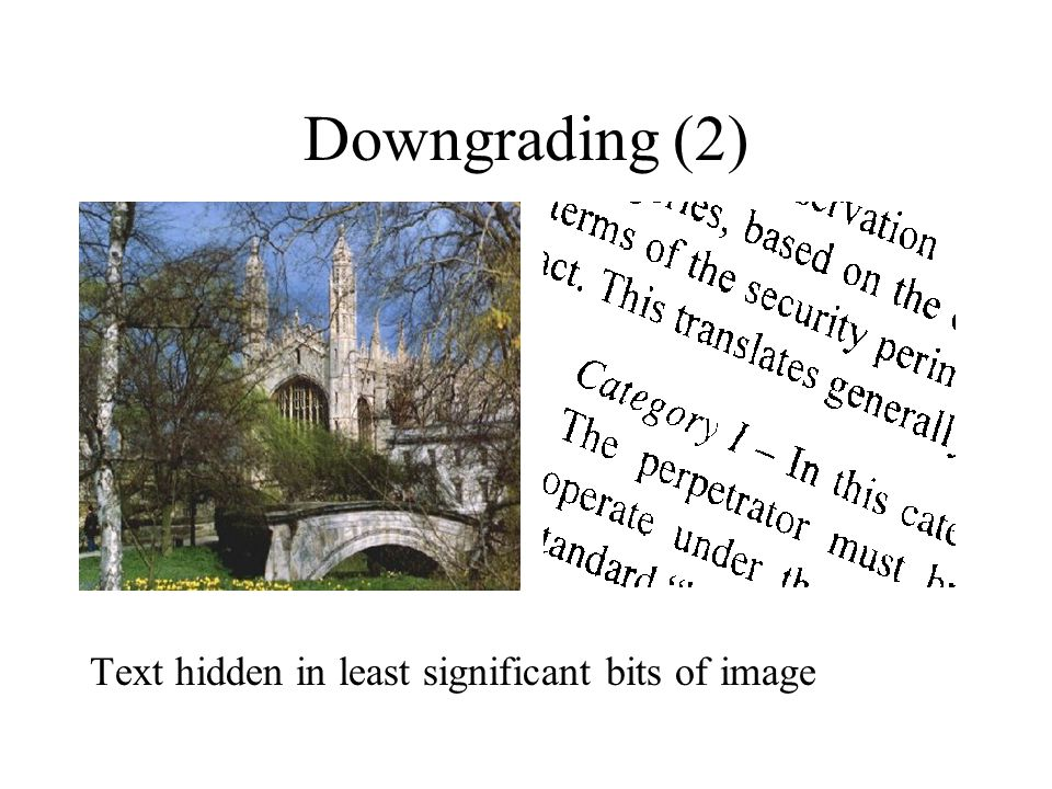 Downgrading (2) Text hidden in least significant bits of image