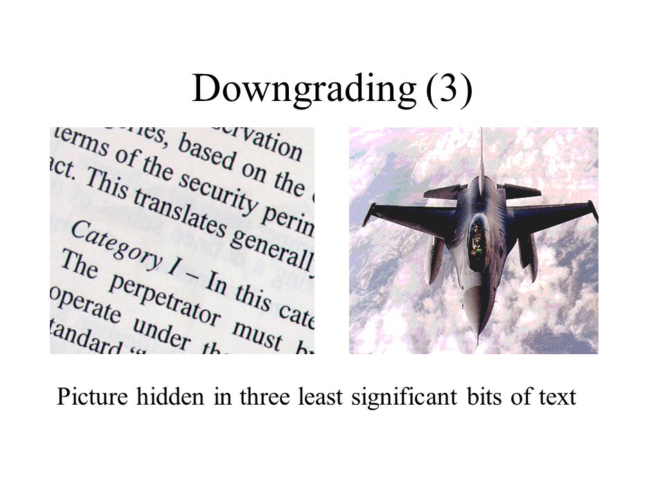 Downgrading (3) Picture hidden in three least significant bits of text