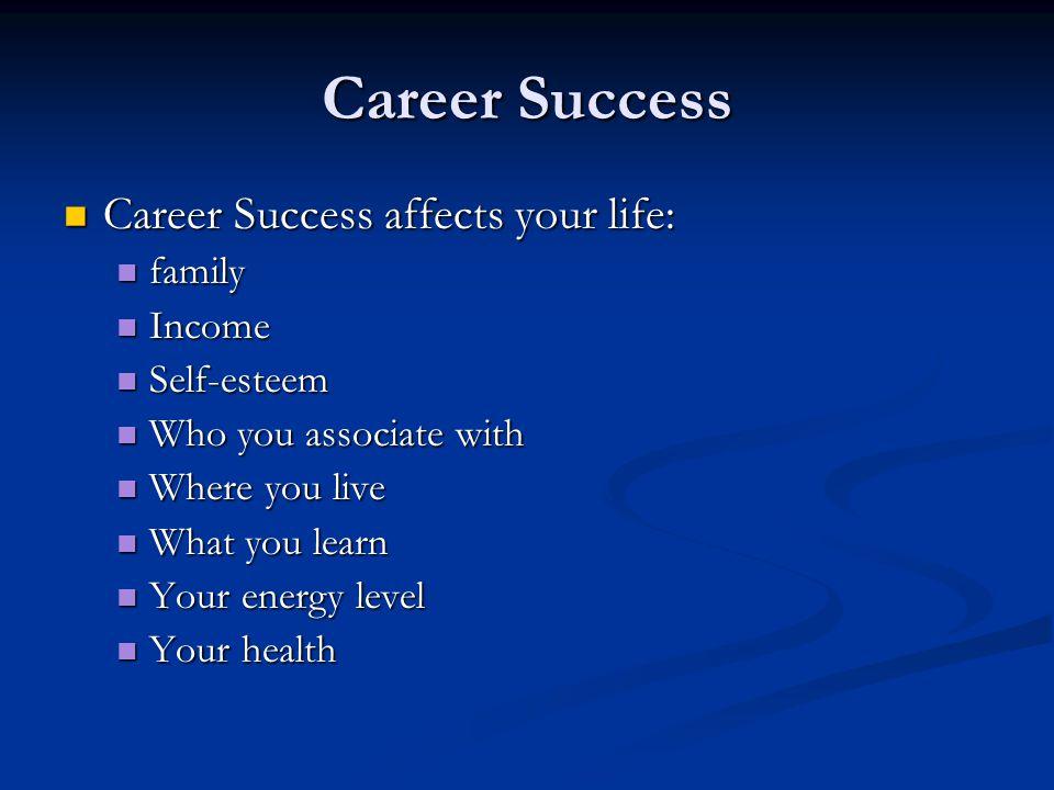 Career Success Career Success affects your life: Career Success affects your life: family family Income Income Self-esteem Self-esteem Who you associate with Who you associate with Where you live Where you live What you learn What you learn Your energy level Your energy level Your health Your health