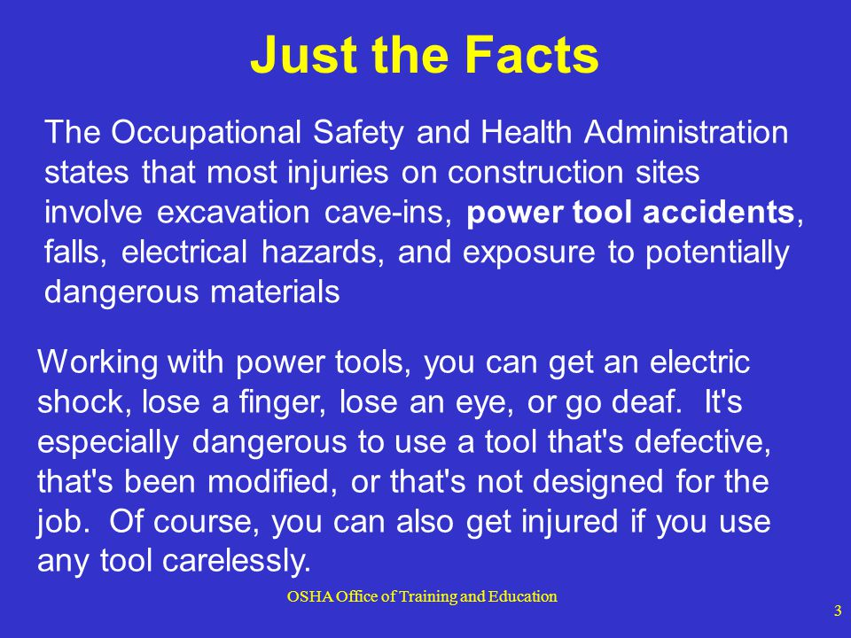 OSHA Office of Training and Education 44 Pneumatic Tools - Fastening Ensure tool is fastened securely to the air hose to prevent a disconnection Use a short wire or positive locking device attaching the air hose to the tool Wire used to secure hose