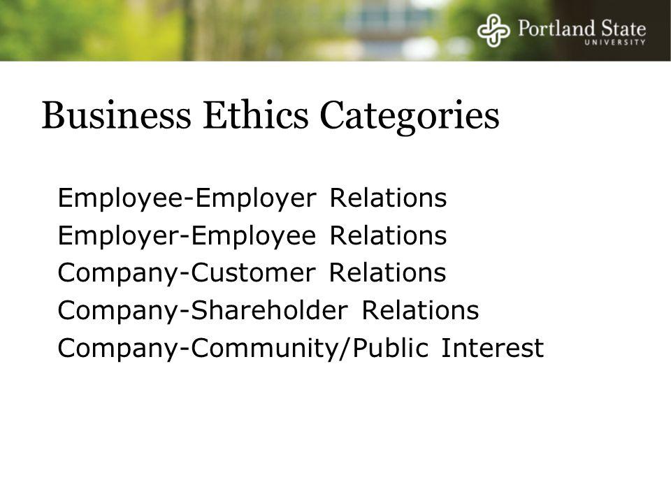 Business Ethics Categories Employee-Employer Relations Employer-Employee Relations Company-Customer Relations Company-Shareholder Relations Company-Community/Public Interest