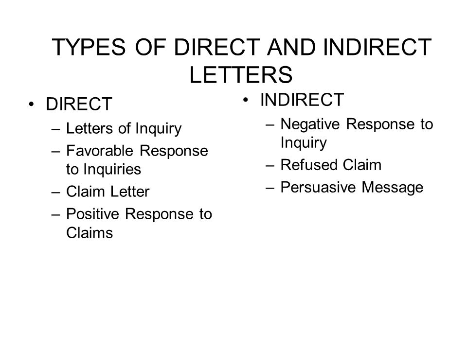 TYPES OF DIRECT AND INDIRECT LETTERS DIRECT –Letters of Inquiry –Favorable Response to Inquiries –Claim Letter –Positive Response to Claims INDIRECT –Negative Response to Inquiry –Refused Claim –Persuasive Message