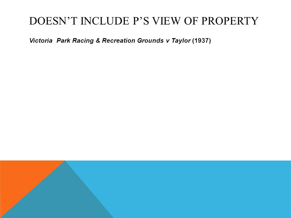 DOESN'T INCLUDE P'S VIEW OF PROPERTY Victoria Park Racing & Recreation Grounds v Taylor (1937)