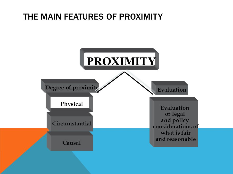 THE MAIN FEATURES OF PROXIMITY PROXIMITY Physical Circumstantial Causal Degree of proximity Evaluation of legal and policy considerations of what is f