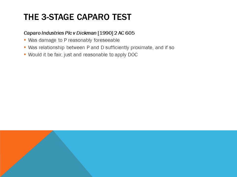 THE 3-STAGE CAPARO TEST Caparo Industries Plc v Dickman [1990] 2 AC 605  Was damage to P reasonably foreseeable  Was relationship between P and D su